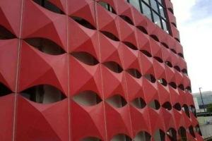 红色外墙金字塔尖造型铝单板