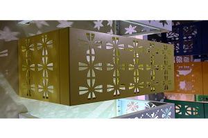 黄色金铜钱图案镂空铝合金空调罩
