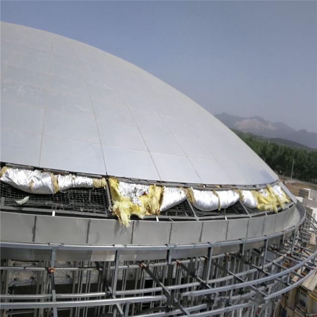 双曲铝单板贴保温棉组装天面穹顶