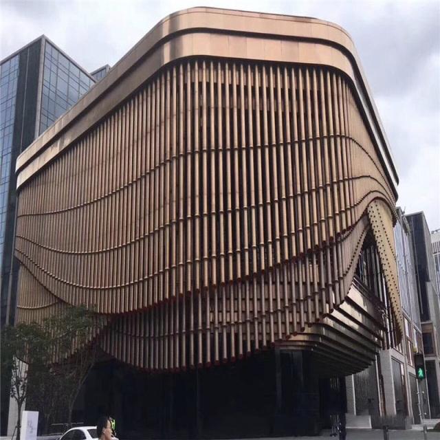 竹节形铝圆管拼装外墙百叶帘