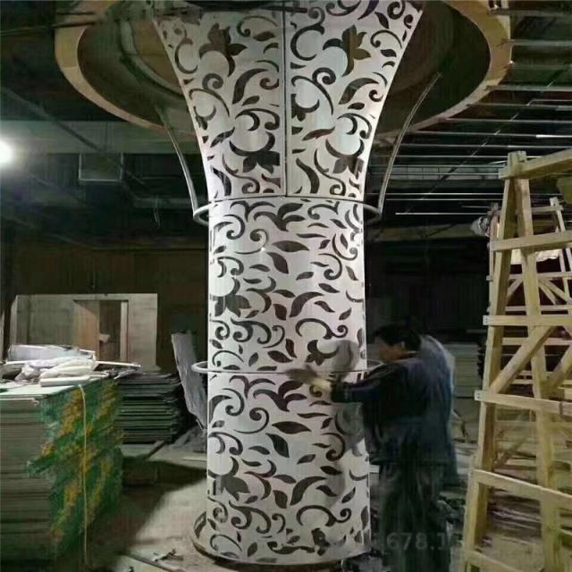 雕花喇叭造型双曲铝单板圆形包柱