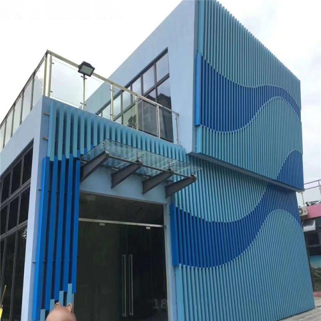 外墙双色拼图案立式铝方管格栅