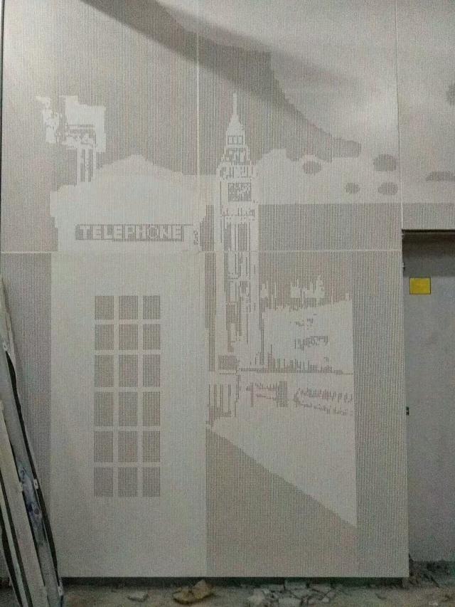 冲孔拼欧洲钟楼图案墙面铝单板