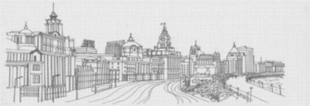 冲孔拼欧洲小镇风格图案铝单板