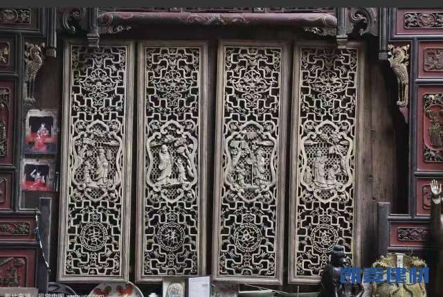 仿唐代风格雕刻门古铜色铝雕