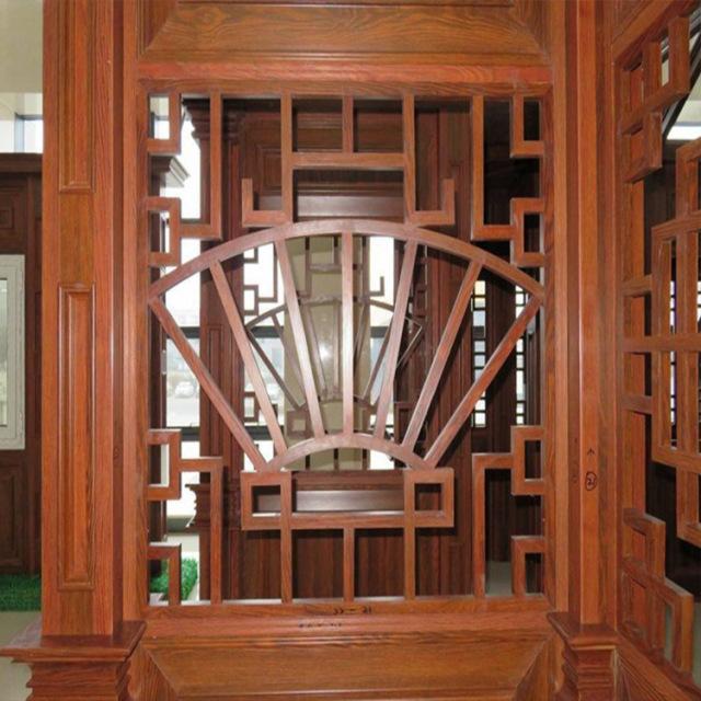 别墅正门中式古风仿木纹铝屏风