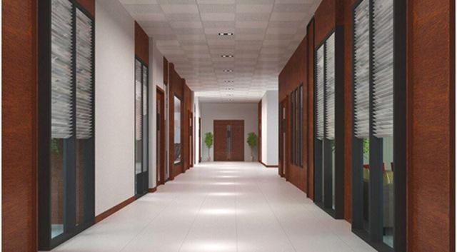 办公室过道墙面木纹铝单板