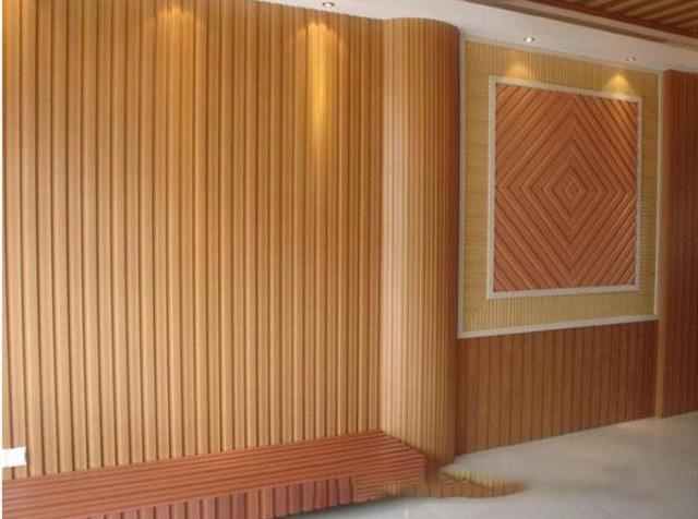桑拿会所墙面木纹色凹凸长城铝板