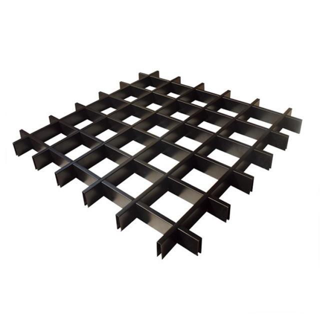100*100间距格子黑色铝格栅