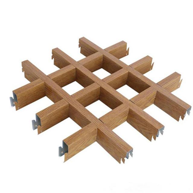 木纹色方格子铝格栅