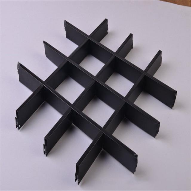 黑色方格子形铝格栅