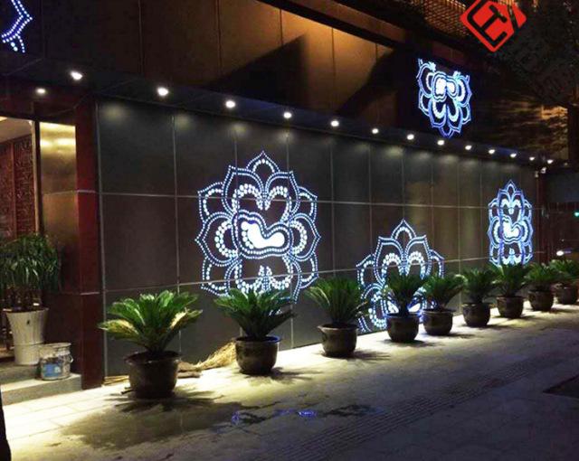 外墙冲孔拼莲花图案铝单板背景墙背贴亚克力发光灯
