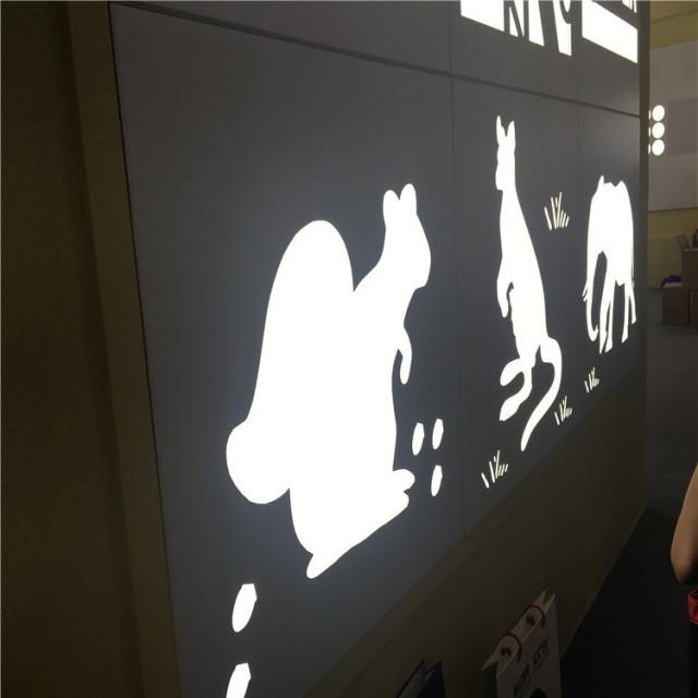 袋鼠图案镂空铝单板背贴发光亚克力