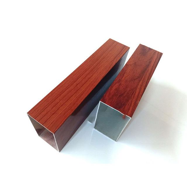 红木色木纹铝合金方管