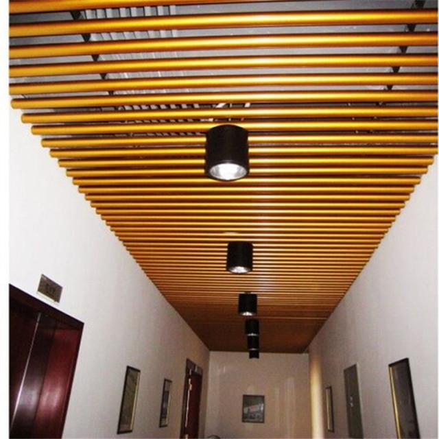 走廊吊装金色氟碳烤漆铝圆管天花