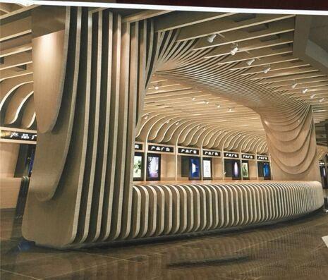 瀑布流造型弧形铝方通包柱
