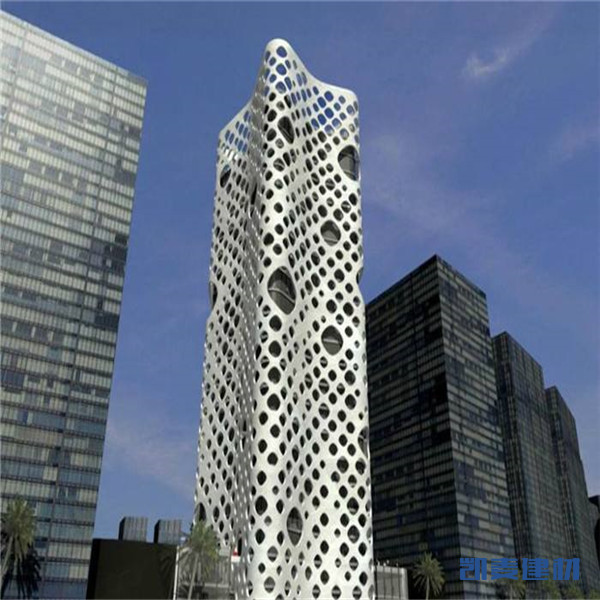 大圆圈镂空造型商业大楼外墙铝单板