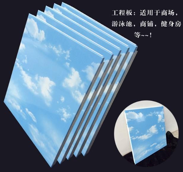 600*600蓝天白云图案铝扣板