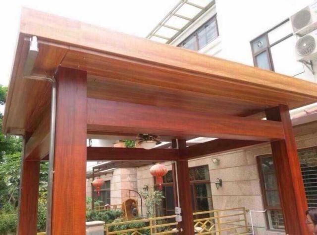 木纹色铝合金凉亭