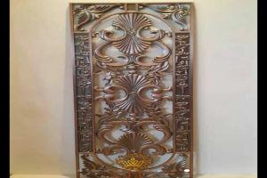 古铜色镂空浮雕铝花窗