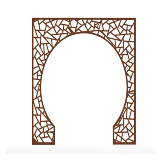 木纹色铝合金花格门洞