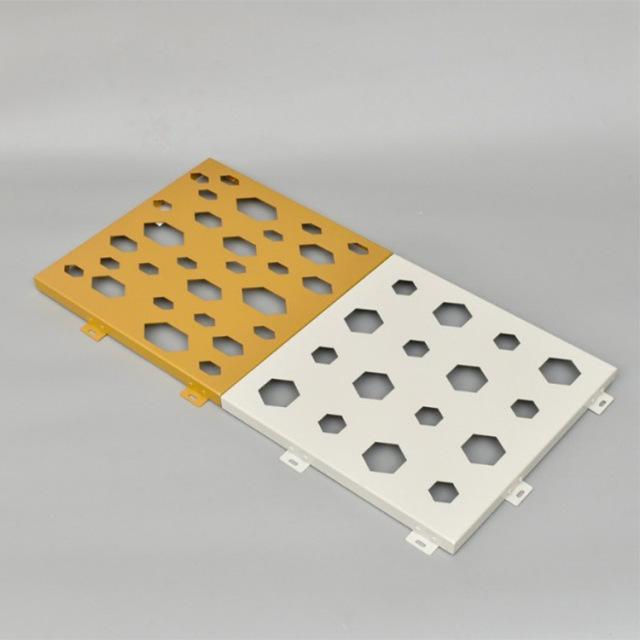 纯色喷粉冲六角形孔铝单板
