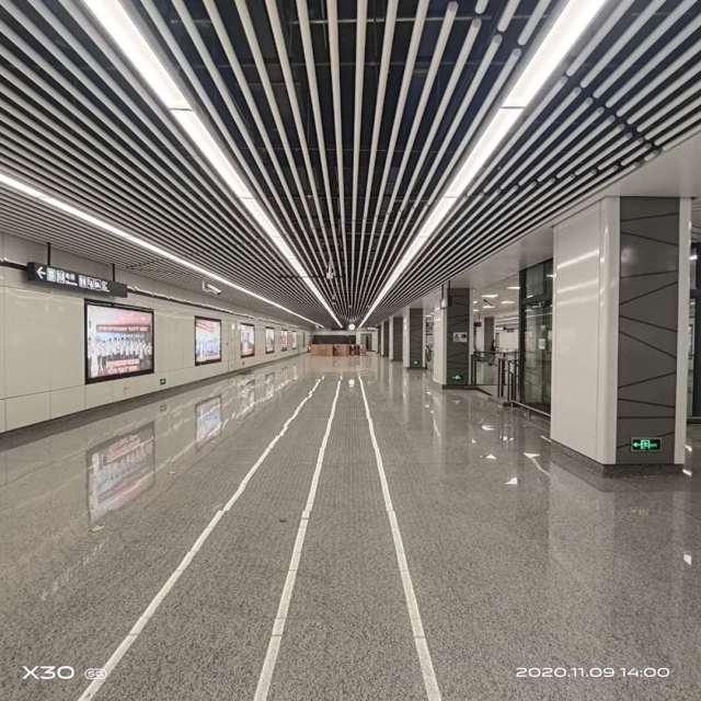 杭州江东二路623地铁站吊顶铝圆管