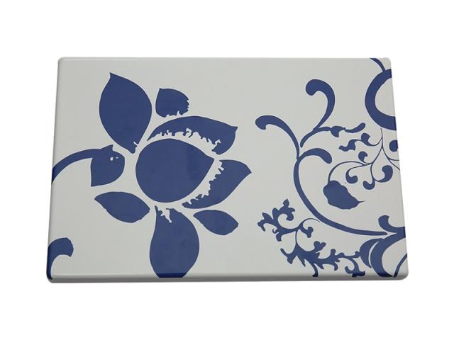 蓝色荷花图案印花搪瓷钢板