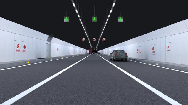 隧道侧面装饰采用米白色,顶部采用灰色防火涂料