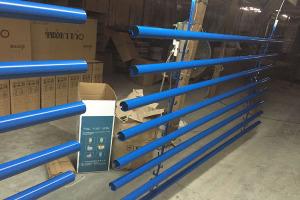 直径50mm蓝色凹槽铝圆管天花型材