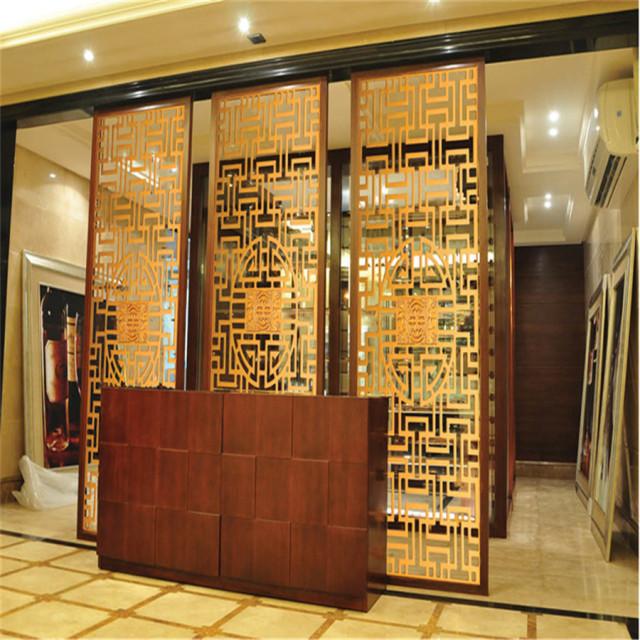 前台背景墙金色铝合金窗花
