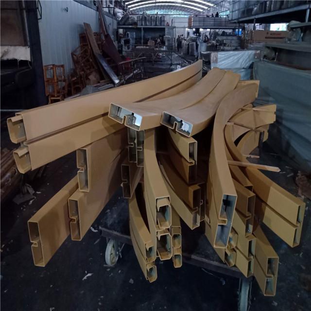 木纹色拉弯铝型材扶手