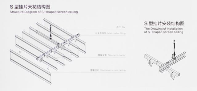 S型铝挂片配鹰嘴龙骨安装方式