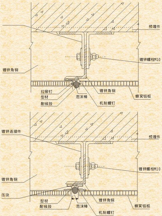 铝蜂窝板钢架安装方式结构图