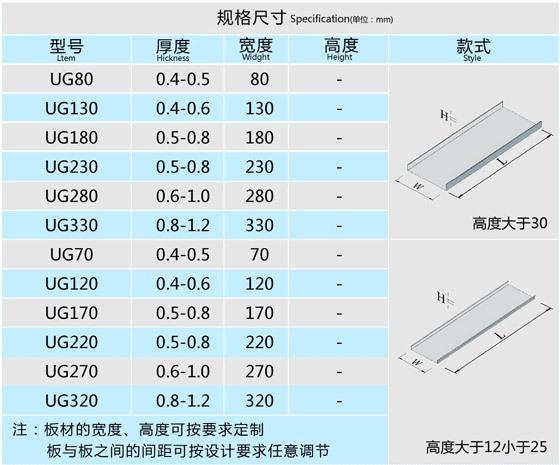 U型铝槽规格尺寸