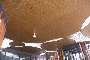 密拼圆形造型木纹铝单板吊顶