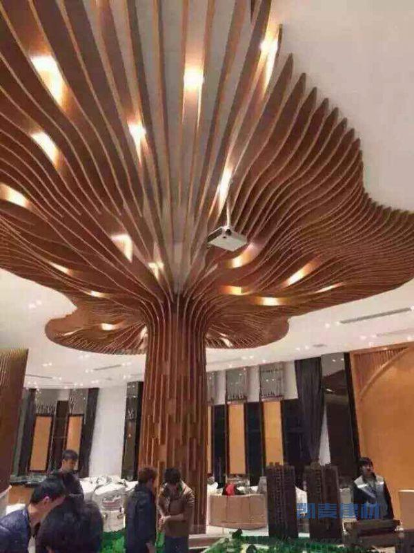 树形弧形包柱吊顶一体铝方通