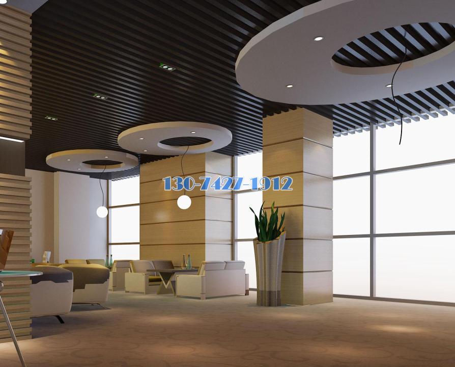 峥嵘大厦商务楼装修工程休闲区装造型铝单板