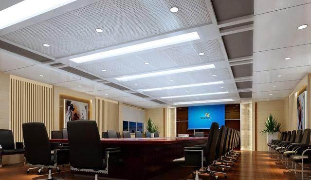 峥嵘大厦商务楼装修工程报告厅装吸音冲孔铝板