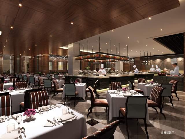 全日制餐厅木纹饰面铝单板吊顶