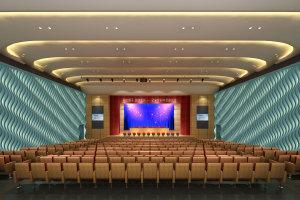 学校会议厅墙面造型铝单板内嵌灯饰