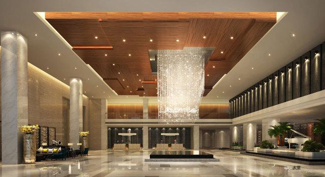 酒店大堂中庭水晶吊灯背景木纹铝板