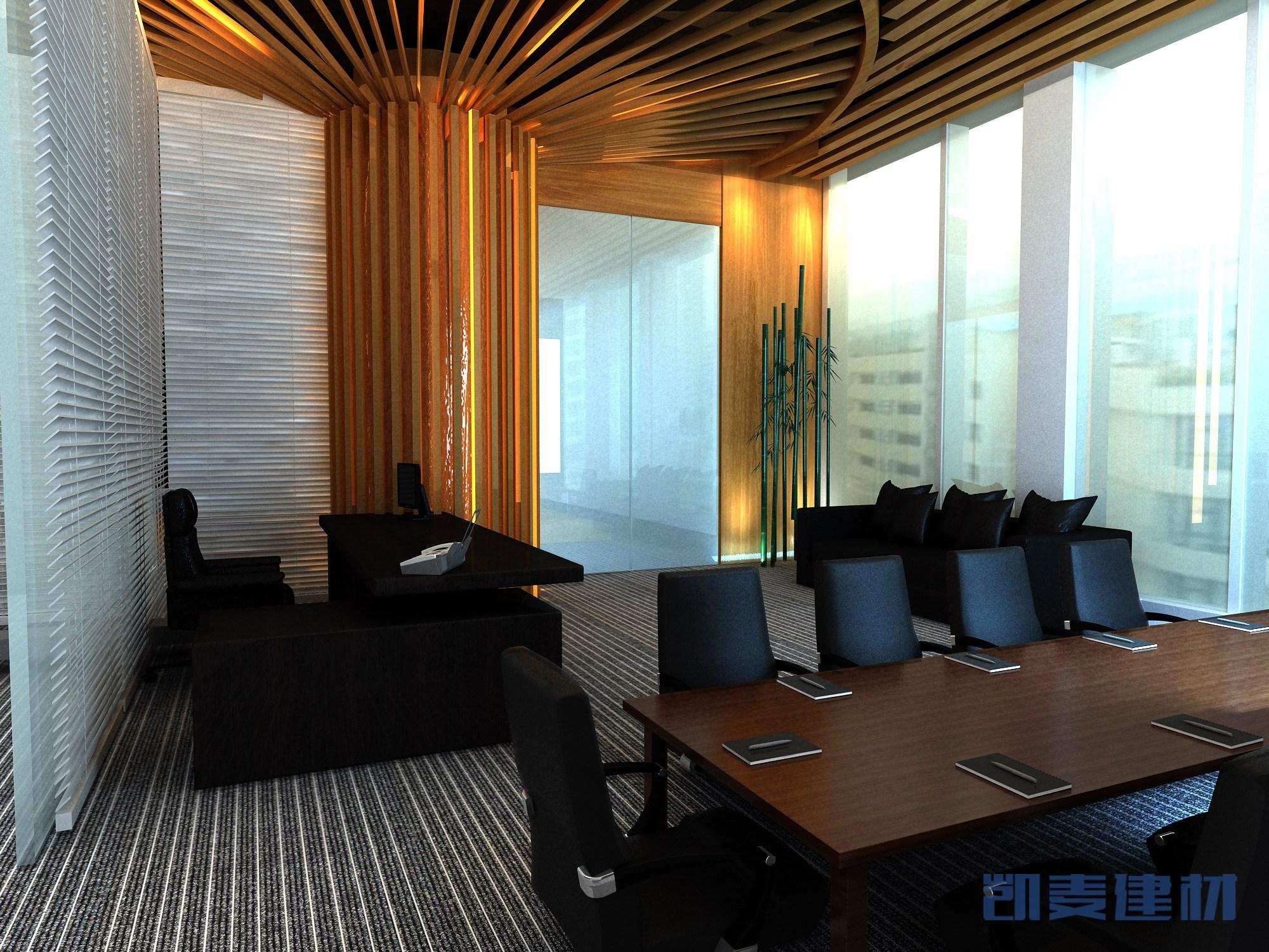 会议室木纹方通包柱