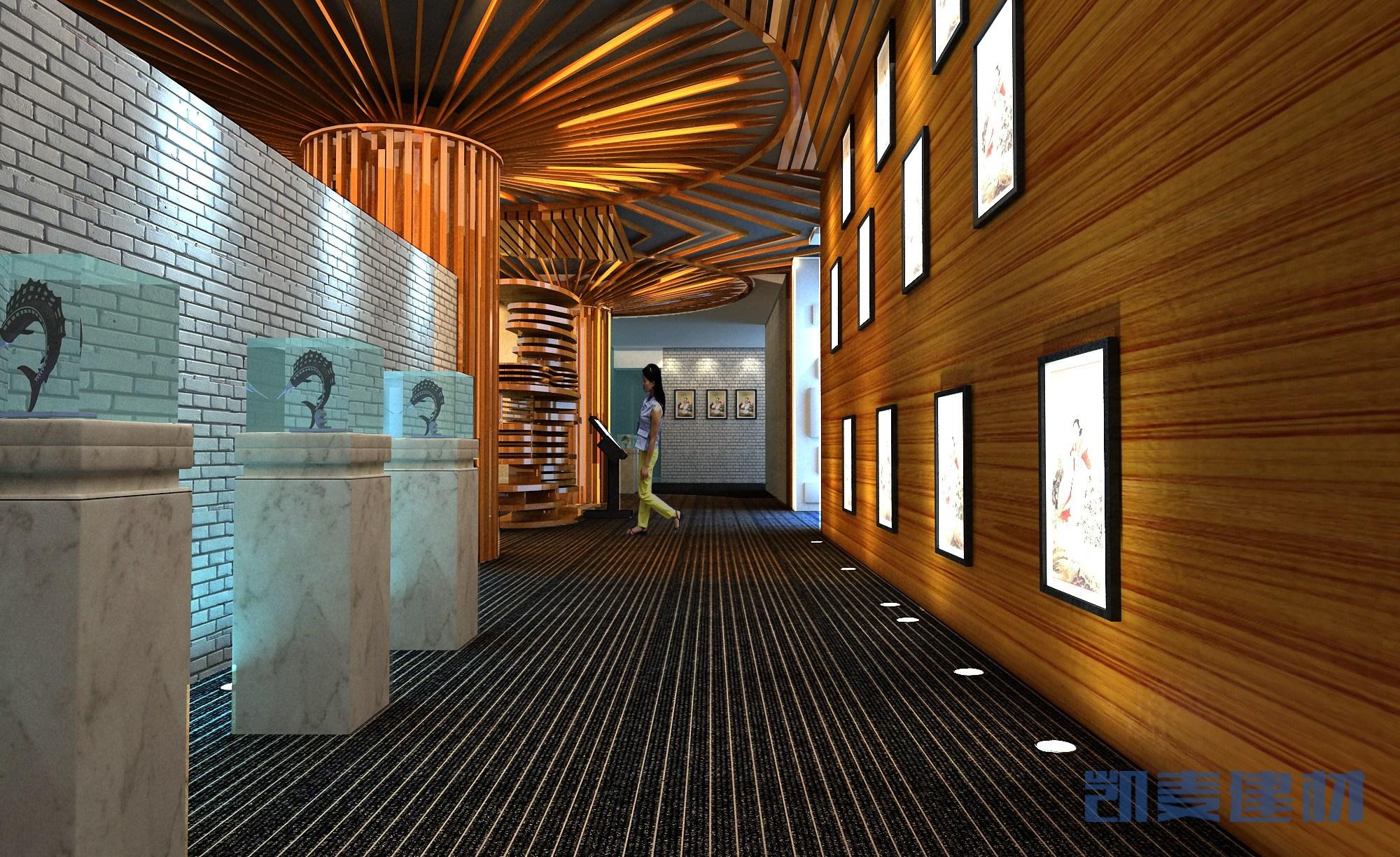 博物馆散射型木纹铝方通吊顶和木纹铝单板墙面