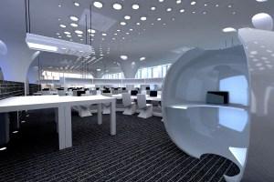 现代科技感办公室圆孔铝板吊顶