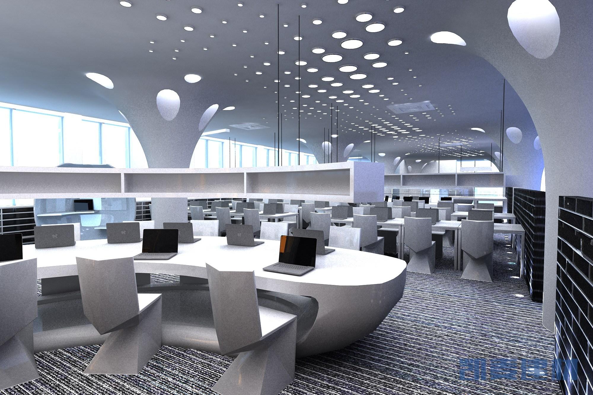 现代科技感办公室圆孔吊顶