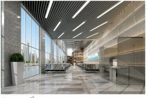 银行业务大厅铝挂片吊顶和墙面冲孔吸音板