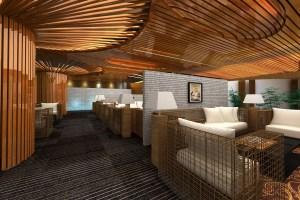 咖啡馆私人定制木纹方通包柱和方通吊顶