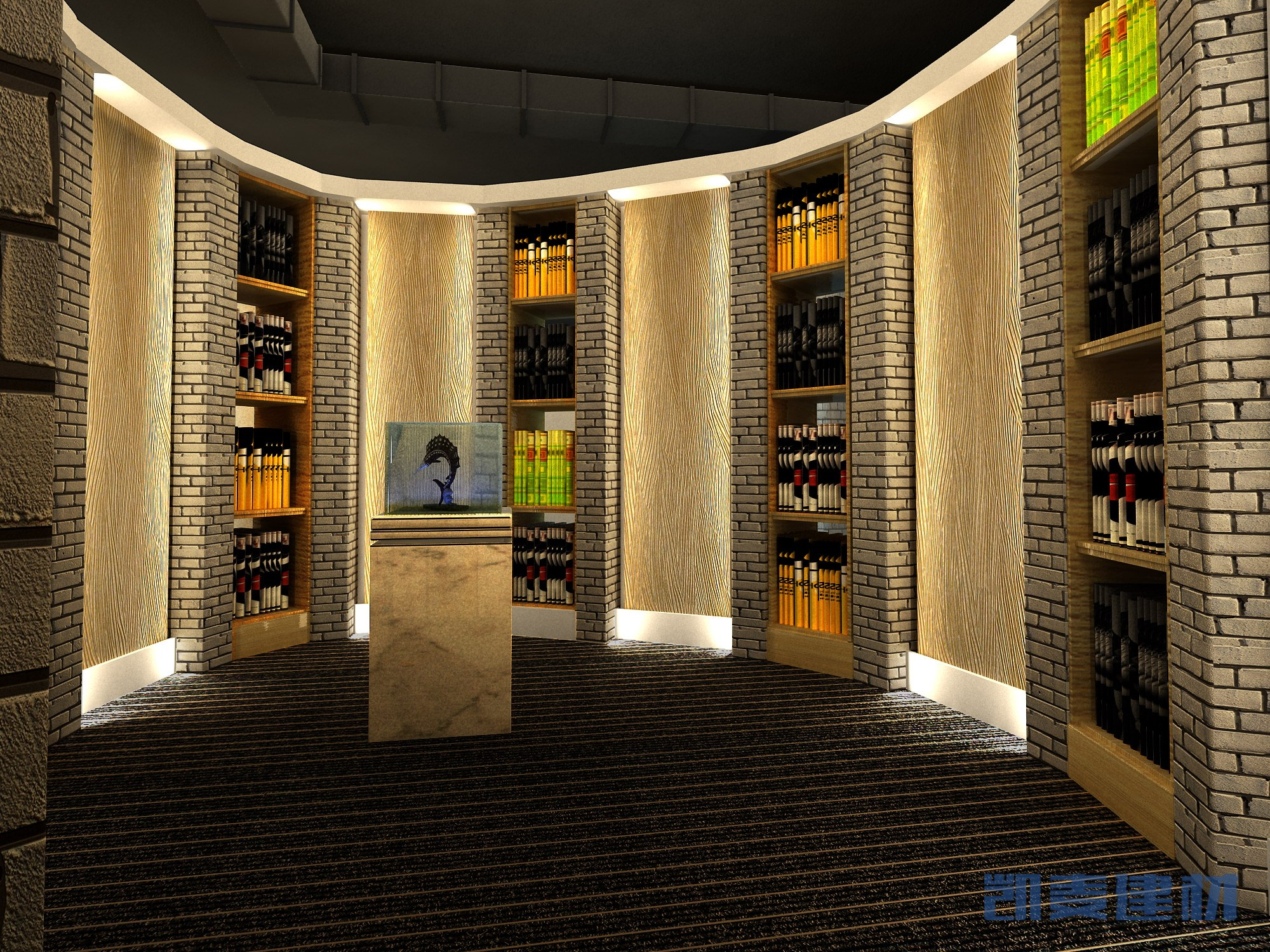 私人展馆墙面3D木纹铝单板