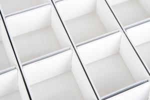 白色方形铝格栅俯视图